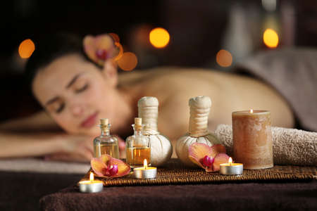 Spa composition on beautiful girl background Stock Photo