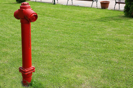 Red hydrant on green grass background Stock Photo