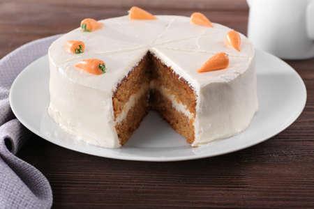 Delicious carrot cake, closeup