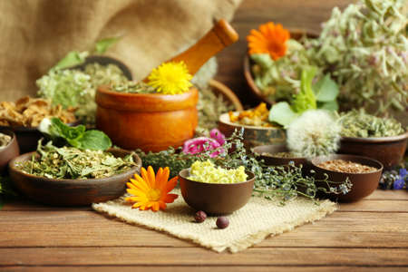 Herb selection used in herbal medicine in bowls  on wooden table Stockfoto