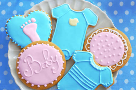 Delicious baby shower cookies, closeup Stock Photo