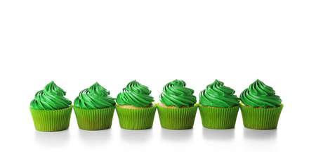 Pistachio cupcakes, isolated on white Imagens - 96870192