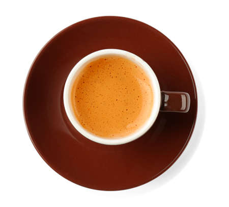 Brown cup of coffee and saucer on white background