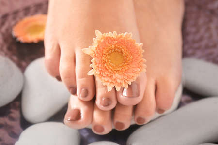 Female feet on spa stones, closeup