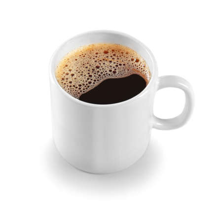 White cup of coffee, isolated on white 스톡 콘텐츠