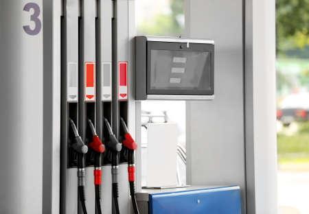 Modern petrol station, closeup