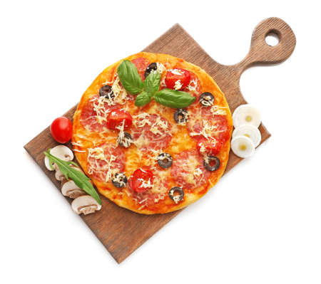 Delicious pizza with vegetables and herbs, isolated on white background