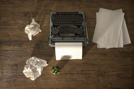 Retro typewriter with sheet of paper on wooden background Reklamní fotografie