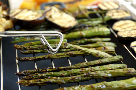 Grilled asparagus and eggplant, closeup