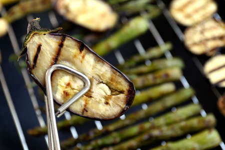 Grilled eggplant slice, closeup