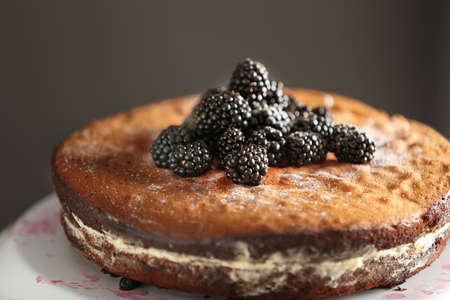 Sweet tasty cake decorated with blackberry