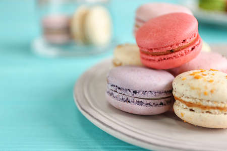 Colorful tasty macaroons, close up