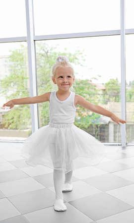 Cute little girl practicing ballet Stock Photo
