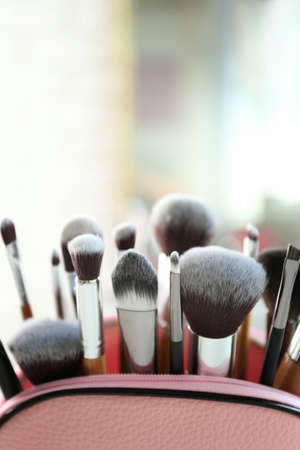 Set of cosmetic brushes on blurred light background