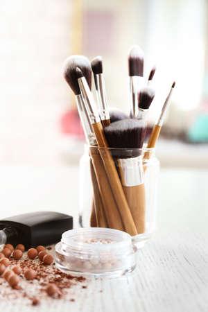 Set of decorative cosmetics on light background