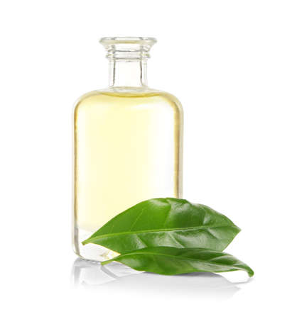 Tea oil in glass bottle with fresh leaves, isolated on white