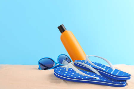 Beach accessories on sand Stock Photo