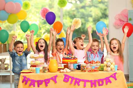 Children's birthday party in decorated room Archivio Fotografico - 96311995