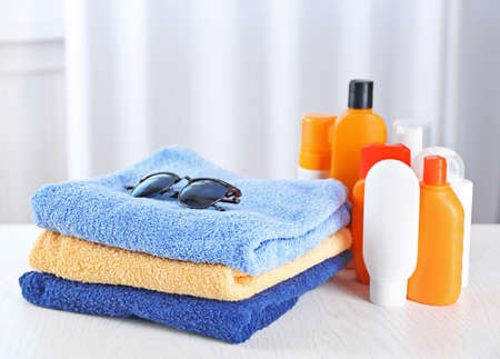 Beach Accessories In Bathroom Stock Photo   96347055