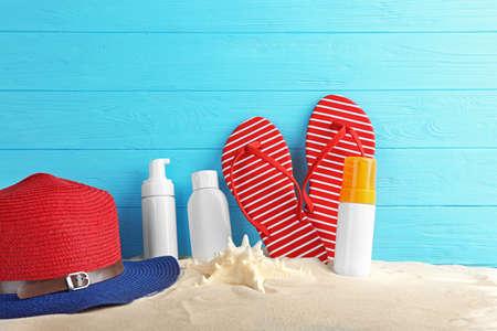 Accesorios de playa en arena