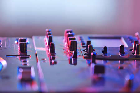 Dj mixer in nightclub, closeup