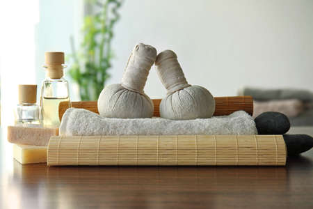 Spa composition on wooden table