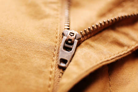 Detail of zipper on denim cloth