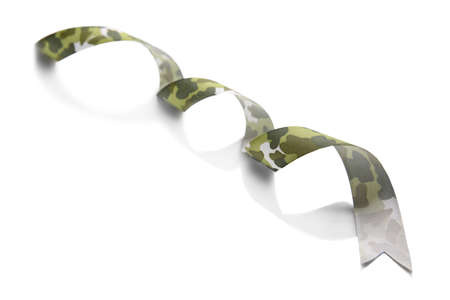 Khaki ribbon isolated on white