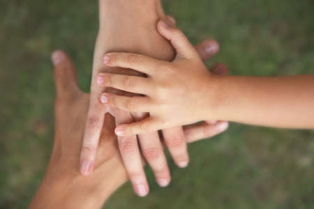 Family hands on green grass background Stock Photo