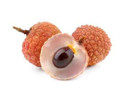 Fresh lychee fruits isolated on white