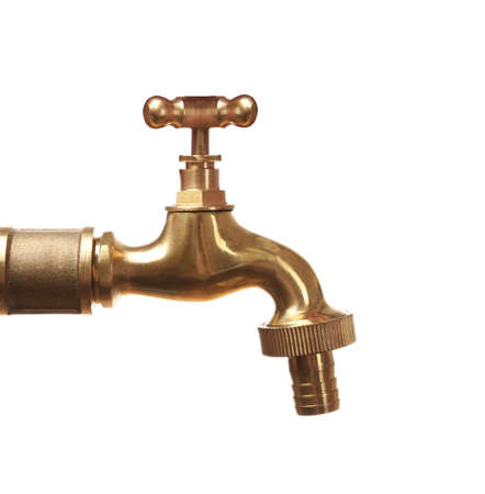 Golden tap isolated on white. Water saving concept