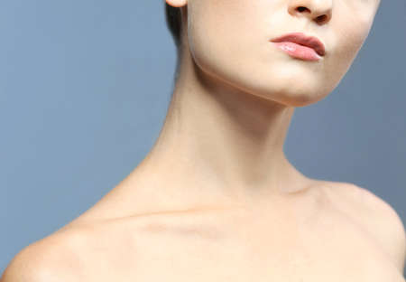 Closeup portrait of female neck and lips