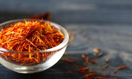 Saffron in glass bowl, closeup
