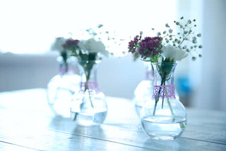 Mini Glass Vase With Flowers Closeup Stock Photo Picture And