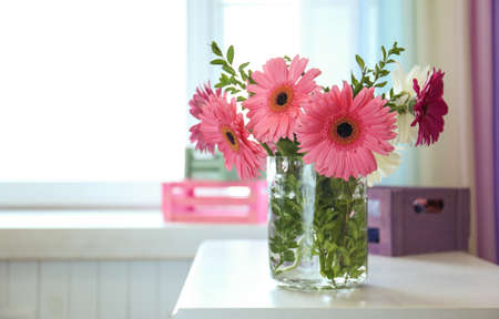 Beautiful Flowers In Vase On Table Stock Photo Picture And Royalty