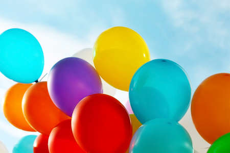 Colorful birthday balloons, closeup Stock Photo