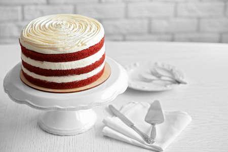 Delicious cake on white table Stockfoto