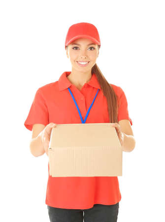 Delivery woman in uniform with parcel on white background