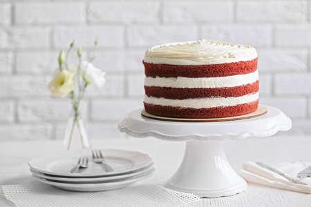 Delicious cake on white table Archivio Fotografico