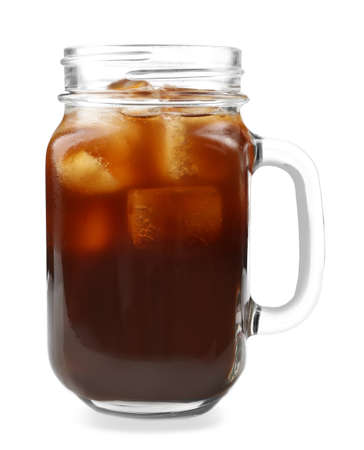 Jar of iced coffee isolated on a white background