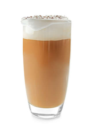 Glass of coffee with cream foam and cocoa powder on white background Banque d'images