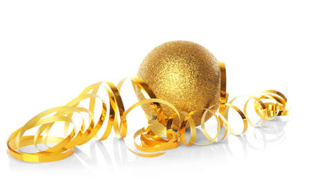 Christmas ball with streamer on white background Stock Photo