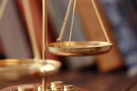 Golden balance scales, closeup