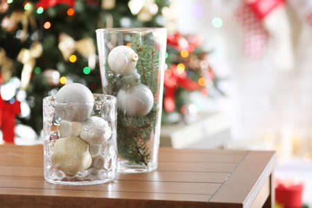 glass vases with christmas decoration on wooden table stock photo picture and royalty free image image 96844631 - How To Decorate Glass Vases For Christmas