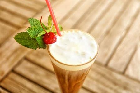 Milk shake on wooden table