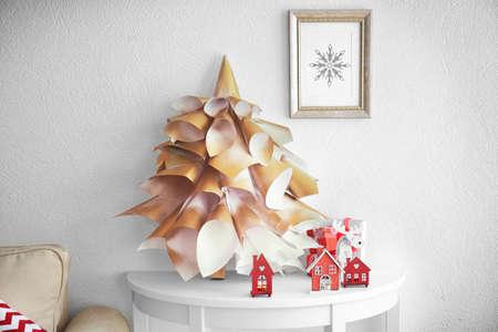 Handmade Christmas tree on white table