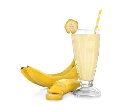Tasty milk shake with banana isolated on white