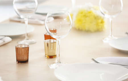 Table setting for holiday buffet, close up view Stock Photo
