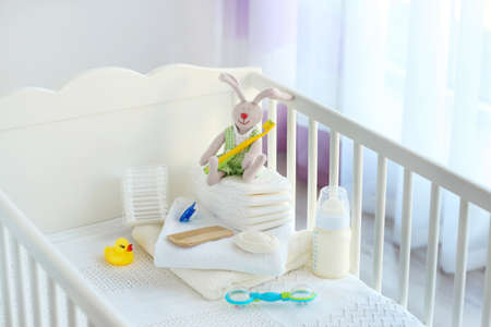 Set of baby accessories for hygiene in crib