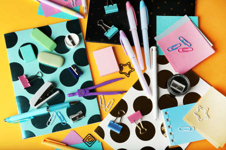 Colorful stationery, closeup